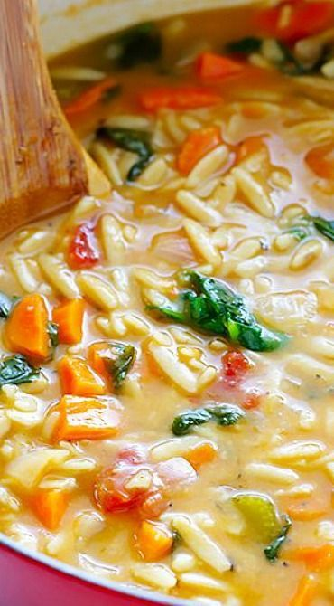 Italian Orzo Spinach Soup. Made this tonight and it was easy and delicious. Substituted vegetable broth for chicken to make it vegetarian and It was still really flavorful. Try topped with grated Parmesan cheese.