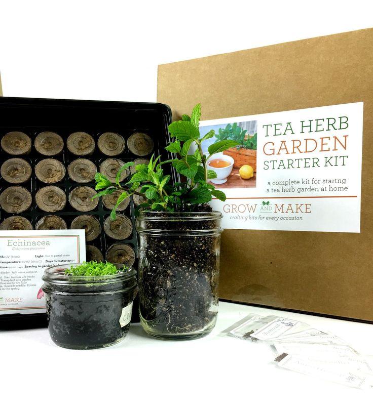 Tea herbs diy garden growing kit learn how to grow home grown teas and herbs herbs garden - Indoor herb garden starter kit ...