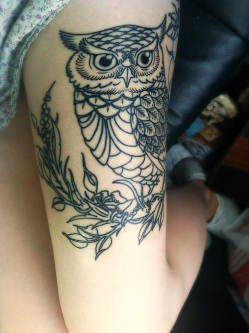 owl tattoo thigh