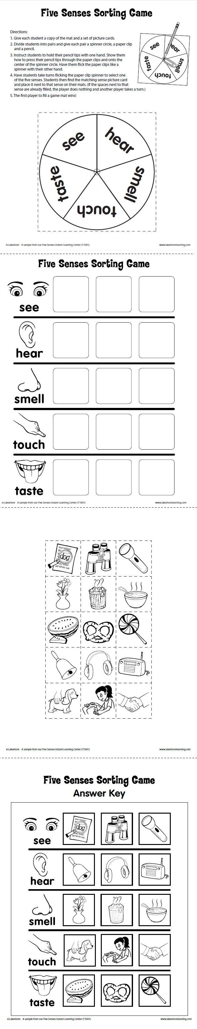 Five Senses Sorting Game Printable from Lakeshore Learning: