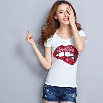 Printed lips O-neck T-shirt