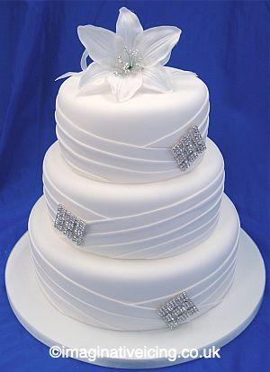 Pleated Diamante White Wedding Cake