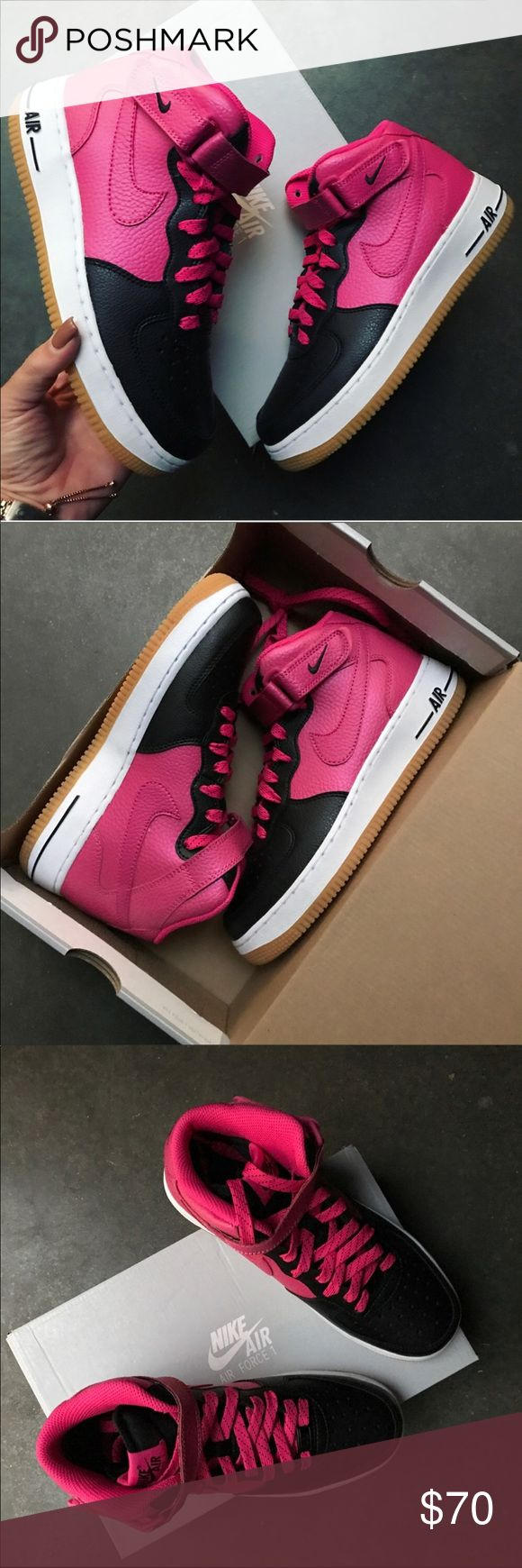 NWB 💕 NIKE AIR FORCE 1 | PINK BLACK LEATHER BRAND NEW, NIKE AIR FORCE 1 PINK BLACK LEATHER MID 💕 FULL ORIGINAL NIKE BOX! LAST PAIR!  ORDER YOUR WOMANS SHOE SIZE 6.5 youth = 8 WOMEN  ALL SIZES LISTED ACCORDING TO NIKE'S SIZE CHART. PLEASE KNOW YOUR YOUTH SIZE PRIOR TO PURCHASING. 💕  Ships same or next day from my smoke free home.   PRICED FIRM, offers will be considered through the offer button only. Bundle to save. 💕  100% authentic & direct from NIKE Nike Shoes Athletic Shoes