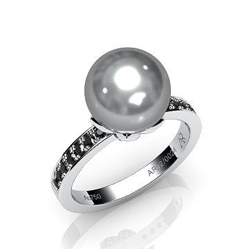 Alexandre Rosenberg - Bague Syracuse. Diamants noirs et perle de Tahiti. / Syracuse ring. Black diamonds and tahitian pearl.  #Bague #DiamantNoir #Perle #Joaillerie