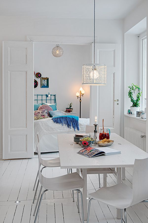 Project: White Apartment in Linnéstaden  Designed by Alvhem Mäkleri & Interiör  Location: Linnéstaden, Gothenburg, Sweden  Website: www.alvhemmakleri.se: Interior Design, Ideas, Dining Room, Apartment Decor, White Apartment, Interiors, Living Room, Apartments, Bedroom