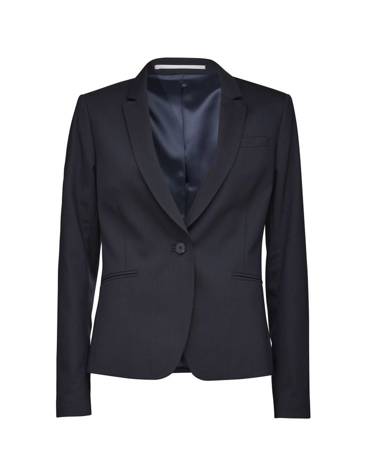 Women's blazer in  wool-stretch. Fully lined with two-button fastening. Features two front paspoil pockets. Semi-slim fit.