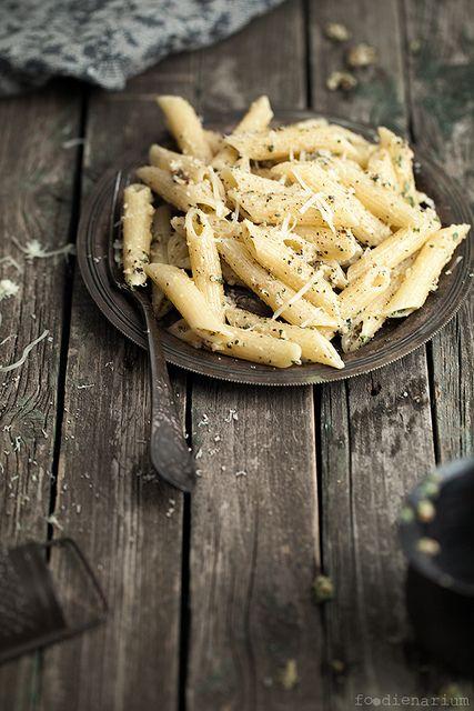 penne with walnut-sage pesto - food photography