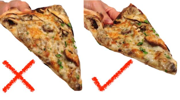 There is nothing quite as devastating to a hungry drunk as lifting a piping hot slice to your face only to have the good stuff fall off. Prevent this travesty by bending the edges of your pizza enough to create a U shape.