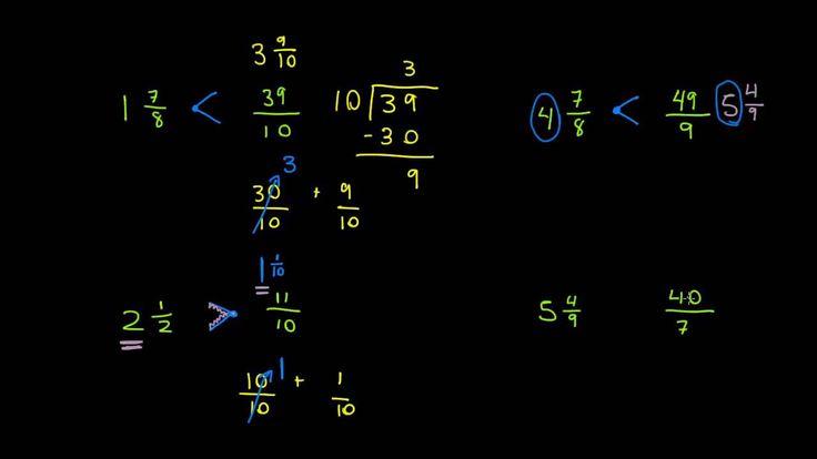 Comparando fracciones impropias y números mixtos
