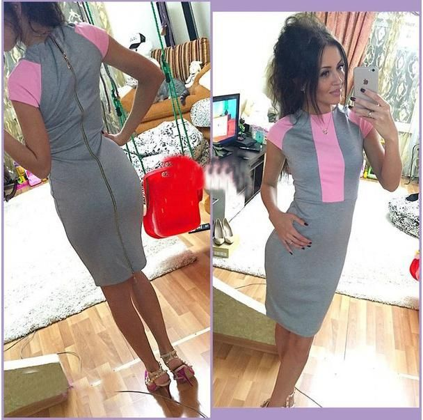 Aliexpress.com : Buy Sexy summer dress 2015 women fashion pink gray color block tight fitted dresses ladies sexy bodycon zipper back dress Nora10860 from Reliable dresses 70s suppliers on Stylish Harajuku | Alibaba Group