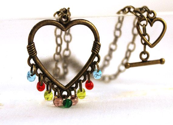 Brass Heart Necklace  Multi Colored Fringe in by SeventhChild