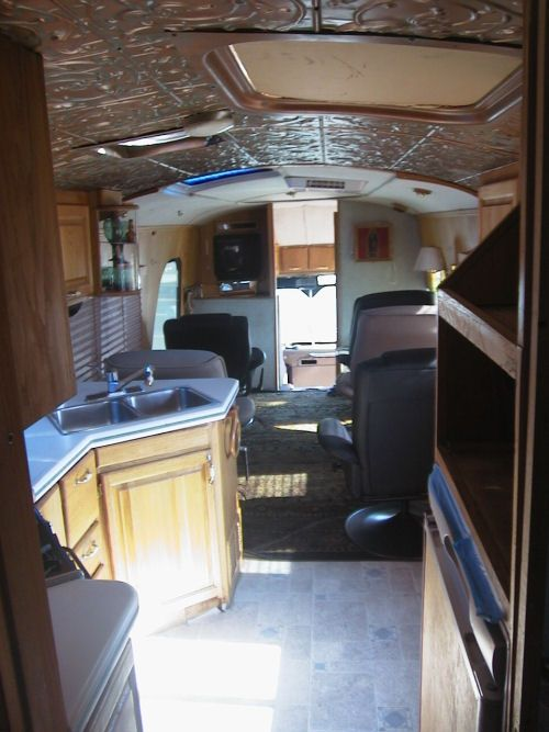 View from galley shows the detailed workmanship in this 1973 GMC RV Bus Conversion for sale by Livicks Truck and Bus Lindsay, California 93247