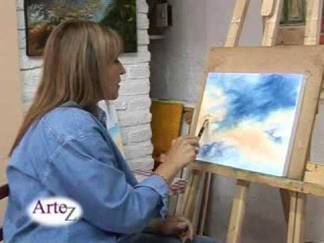 para pintar cielo   !! , explicacion completa de graciela galano ( con pincel duro  ) muy bueno   !!!