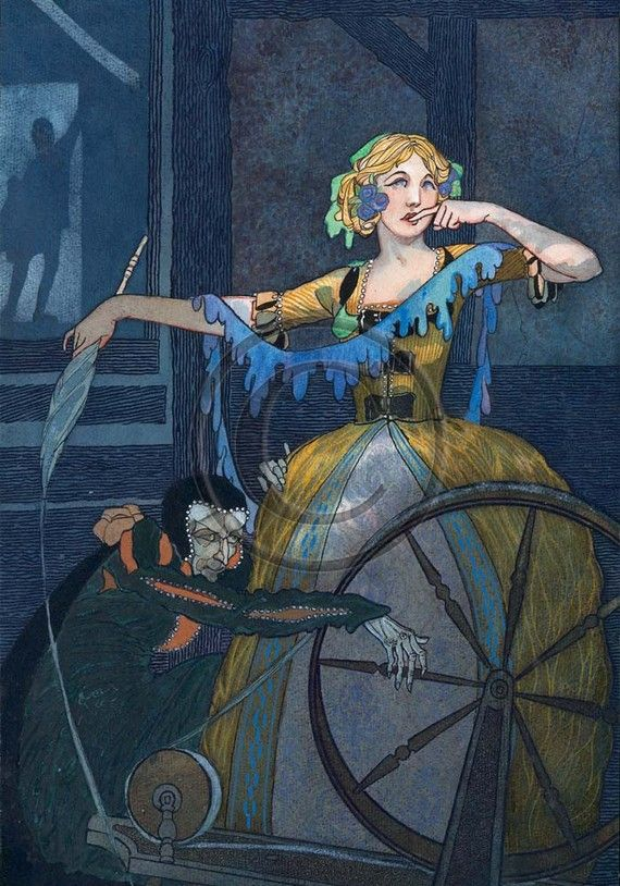 Sleeping Beauty Brothers Grimm German Story Art Deco by NattyMatty, $25.00