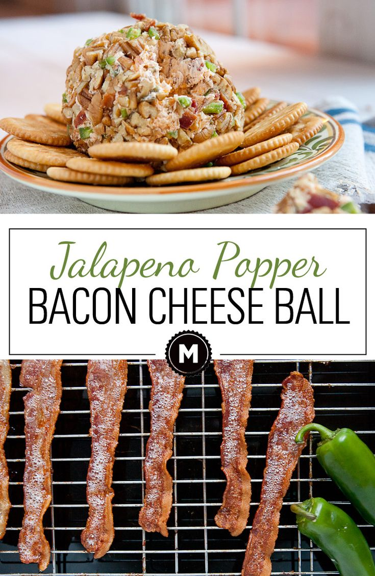 Jalapeno Popper Cheese Ball: Easy to mix appetizer jam-packed with serious flavor including lots of roasted jalapenos and bacon. Yes... Bacon!