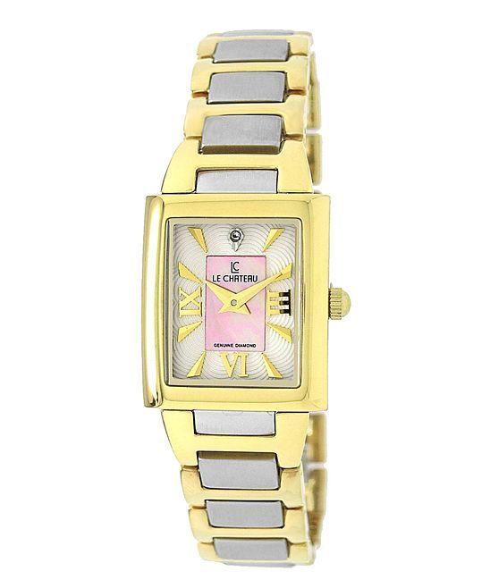 Pink & Two-Tone Mother-of-Pearl Diamond Bracelet Watch - Women's