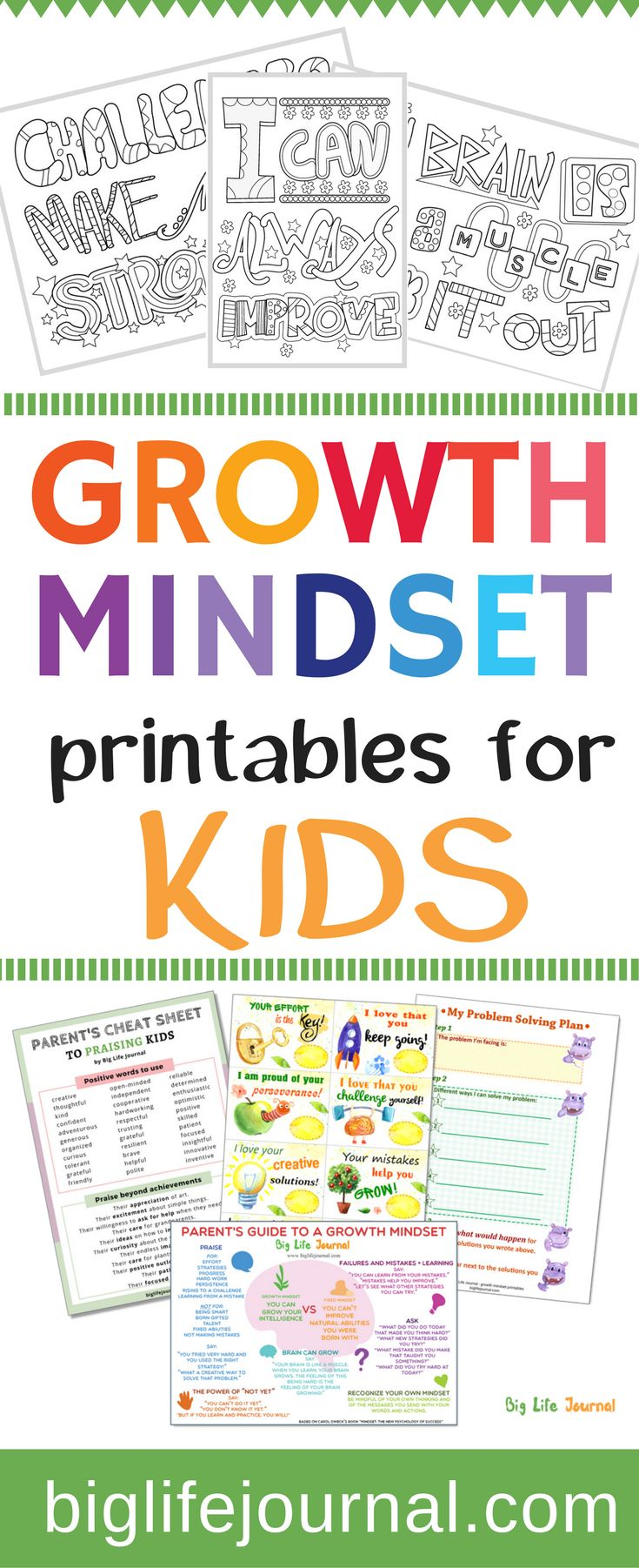 Each week we publish FREE growth mindset printables for kids and parents. Examples include: Parent's guide to a growth mindset, My Problem Solving Plan, My Goal Think Sheet, and more.