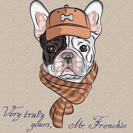 vector inconformista perro raza Bulldog Francés con una gorra marrón y bufanda