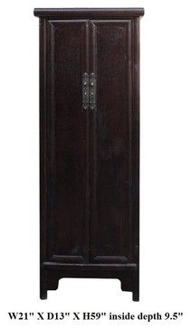 Chinese Rustic Brown Lacquer Narrow Slim Cabinet Cupboard asian cabinet and drawer organizers
