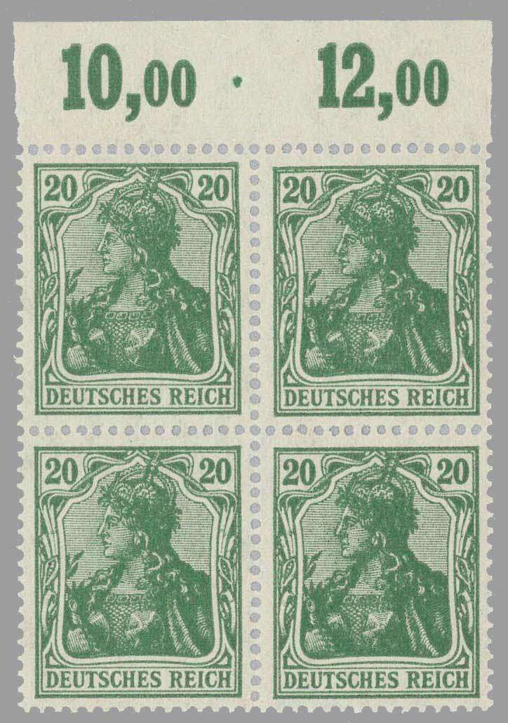 German Empire 1920; Germania 20 Pfg. dark blue green in the mint never hinged upper margin block of four (plate), expertized Infla. Michel value 920,- €. ...