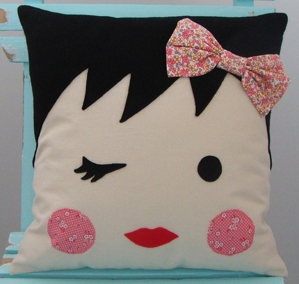Adorable handmade girlie face pillow from Moose and Bird. http://www.etsy.com/shop/mooseandbird