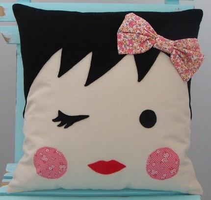 Adorable handmade girlie face pillow from Moose and Bird. http://www.etsy.com/shop/mooseandbird