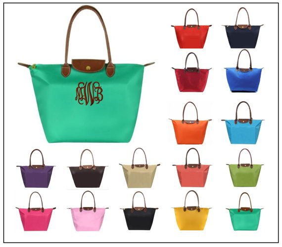 Monogrammed Tote Bag - Foldable Nylon Tote - Longchamp-Inspired Youll love the quality of