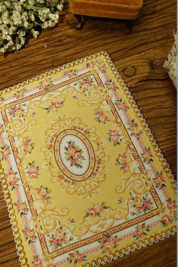 Shabby Chic Pastel Blue French Country Swirls Floral 1//12 Dollhouse Rug