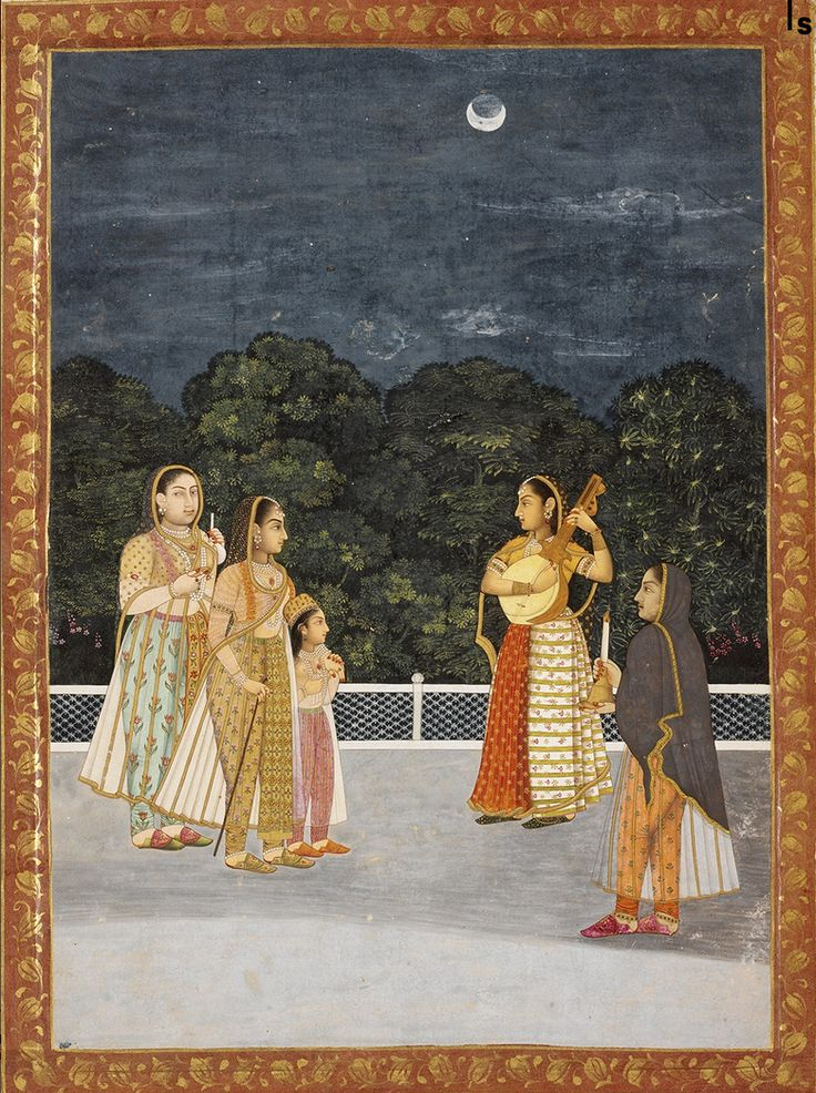 Women in a Garden on a Moonlit Night. Ink and watercolor on paper, India, 1744, RISD Museum, ... a woman sings to entertain a young princess and her nurses on a marble terrace against a bright evening lit by the moon; The scene takes place in the intimate setting of the zenana, or women's quarters, of the palace. The artist's delicate brushwork is characteristic of this period of Mughal court.