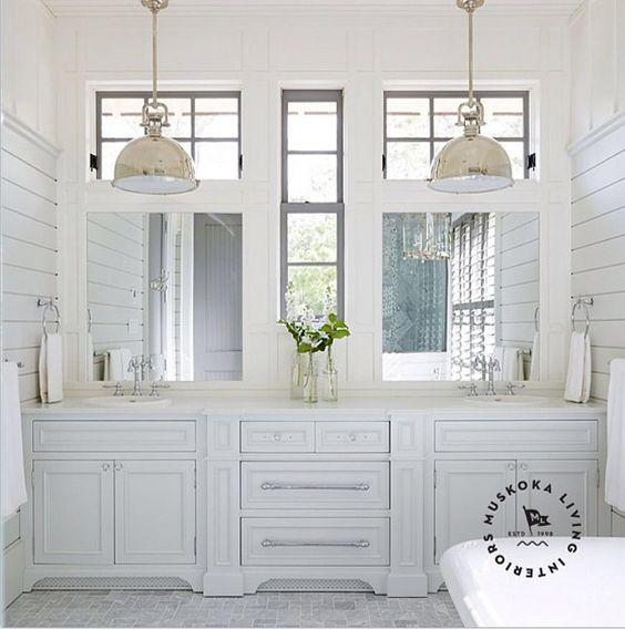 Captivating Coastal Bathroom Like 2 Sinks U0026 Lots Of Storage U0026 Interesting Windows