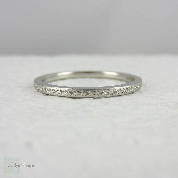 art deco platinum wedding ring engraved wedding band with flower design circa 1930s - Customized Wedding Rings