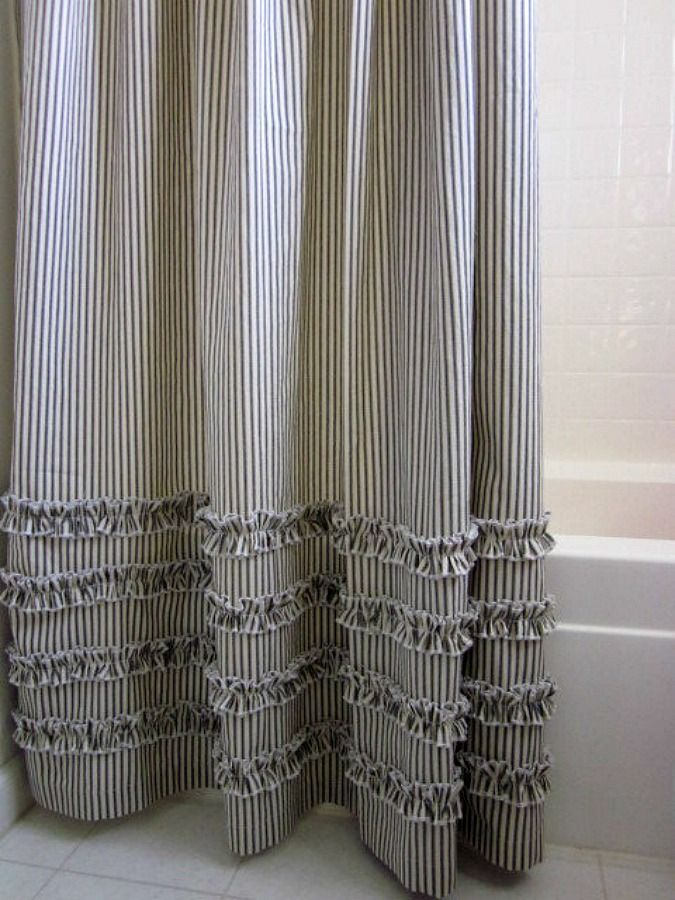 Nice Vintage Ticking Stripe Shower Curtain With Ruffles | 3 Sizes | Black Gray  Navyu2026