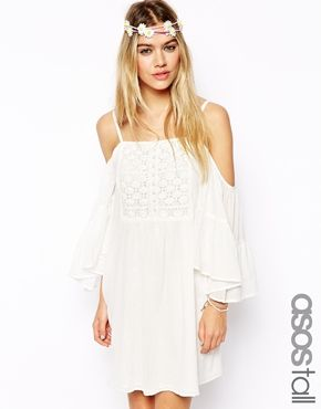 Enlarge ASOS TALL Swing Dress With Cold Shoulder And Crochet Front