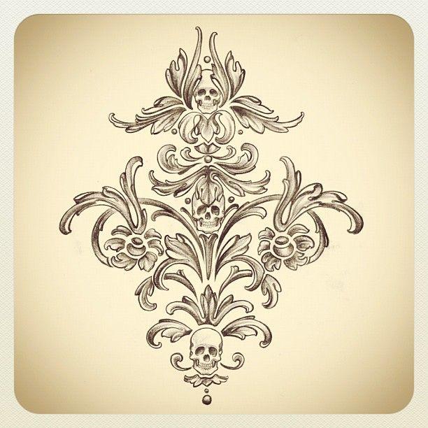 Skull damask design.