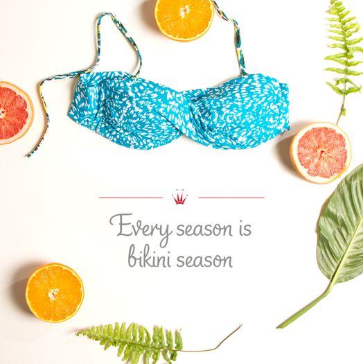 Be #bikiniprepared every season. Photographed: Mix & Match bandeau bikini top in turquoise/light combination.