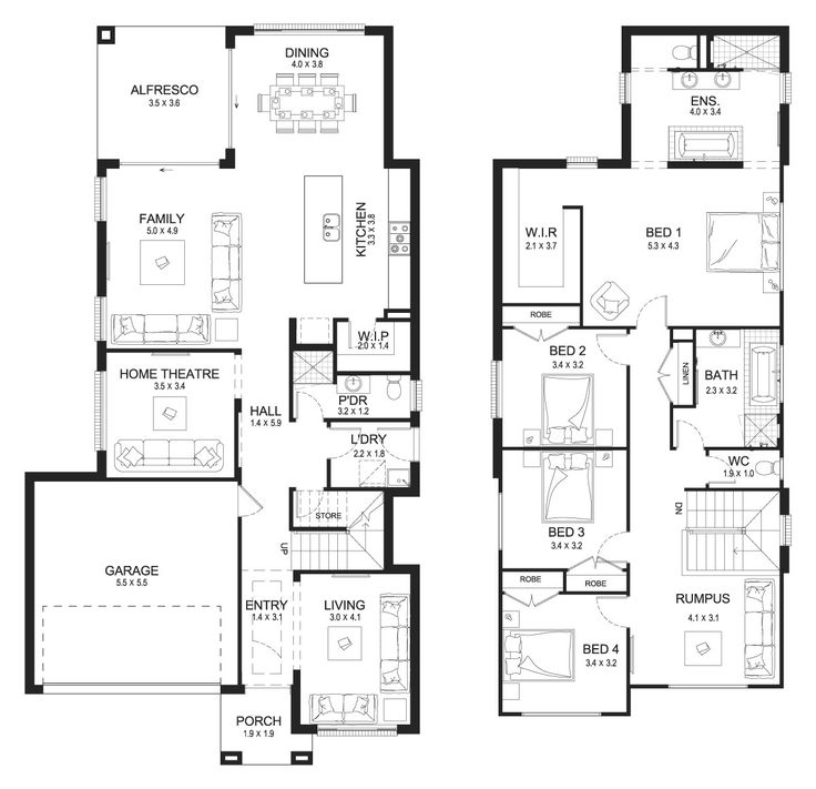 Bronte 32 - Double Level - Floorplan by Kurmond Homes - New Home Builders Sydney NSW