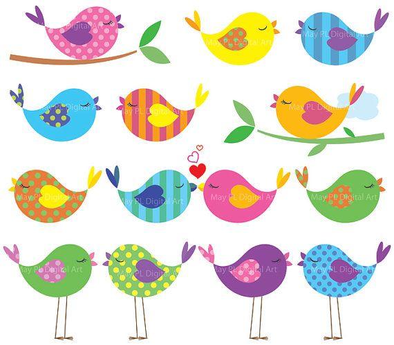 Bird Clipart Cute Birds Commercial Use Digital Animal Clipart Colorful Baby Love Bird Scrapbooking Elements Teacher Supply DIY Shower 10445 #craftwork #CuteBirds
