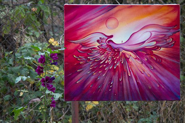 """The Journey on the Angel Wings"" oil painting by Anna Miarczynska -from the open air exhibition ""Welcome Autumn"""
