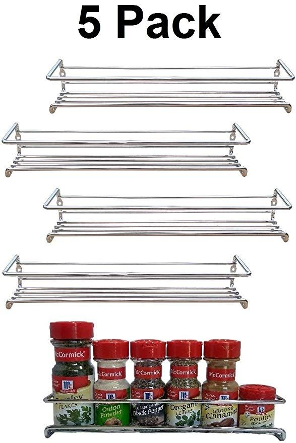 Amazon Com Premium Presents 5 Pack Wall Mount Spice Rack Organizer For Cabinet Spice Shel Wall Mounted Spice Rack Spice Rack Organiser Pantry Door Organizer