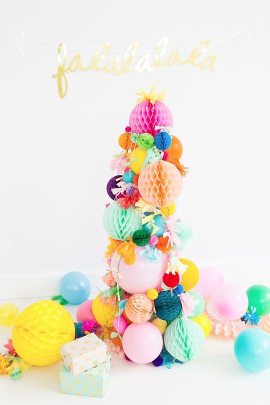 A simple, non-shedding alternative for the holidays: A DIY Pom Pom Christmas Tree idea!