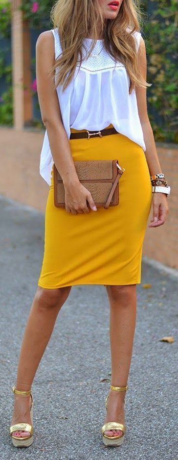 Shop this look on Lookastic:  https://lookastic.com/women/looks/sleeveless-top-pencil-skirt-wedge-sandals-clutch-belt-watch-bracelet/12415  — Gold Leather Wedge Sandals  — Mustard Pencil Skirt  — White Rubber Watch  — Brown Bracelet  — Brown Snake Leather Clutch  — Dark Brown Leather Belt  — White Crochet Sleeveless Top