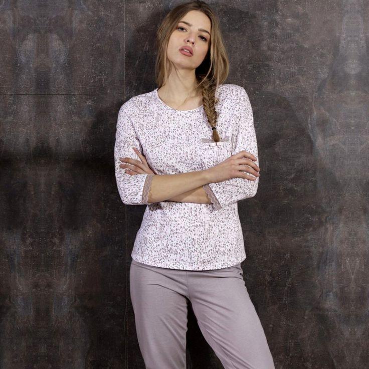 Poze Pijama Dama Maneca Trei Sferturi, Model Elegance, Brand Cana Nouvelle, Material Bumbac 100%, Culoare Alb/Bej, Pijamale Dama Calitate Superioara