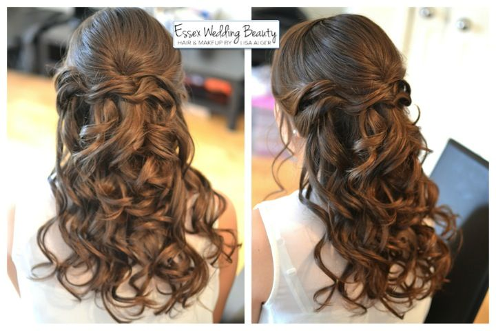 Bridal hair bridesmaid half up half down curls by www.essexweddingbeauty.co.uk. I like the amount that's up and the curl in this one.