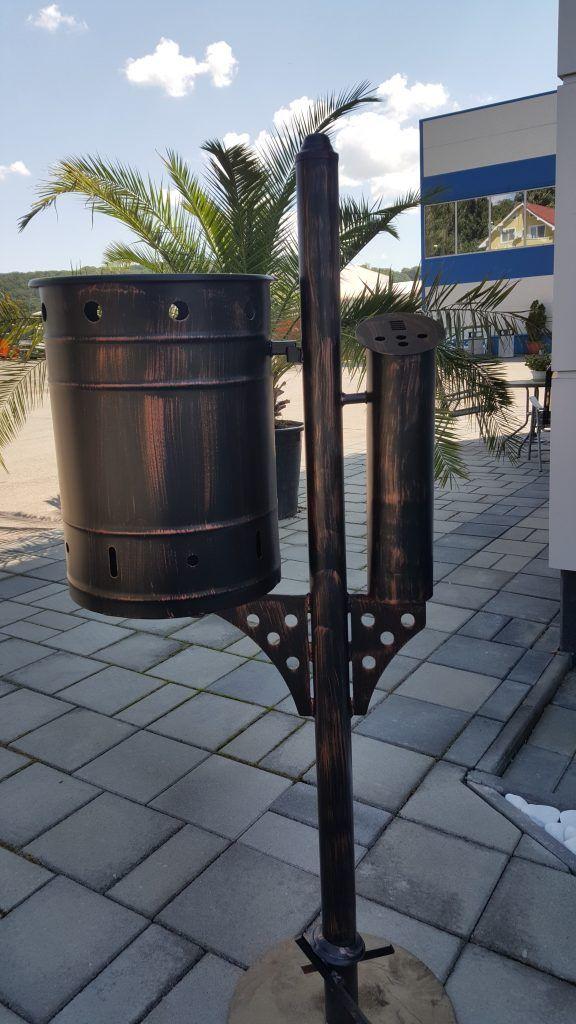 Public bin with cygarette bin