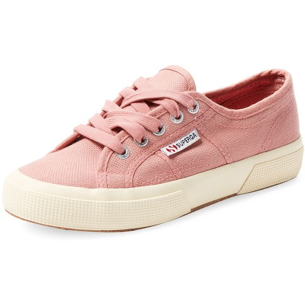 Superga 2750 Cotu Classic Low Top Sneaker ($45) ❤ liked on Polyvore featuring shoes, sneakers, pink, superga shoes, lacing sneakers, pink sneakers, superga and rubber sole shoes