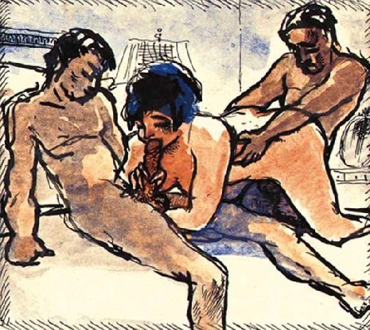 Kernstok Károly (1873-1940) Erotikus jelenet Akvarell, tus, papír, 9x10 cm