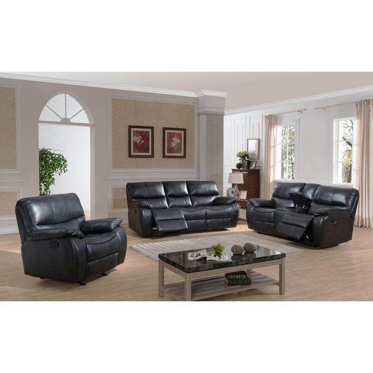 AC Pacific Evan Transitional Reclining Sofa, Loveseat with Storage Console and Glider Reclining Chair 3-piece Set