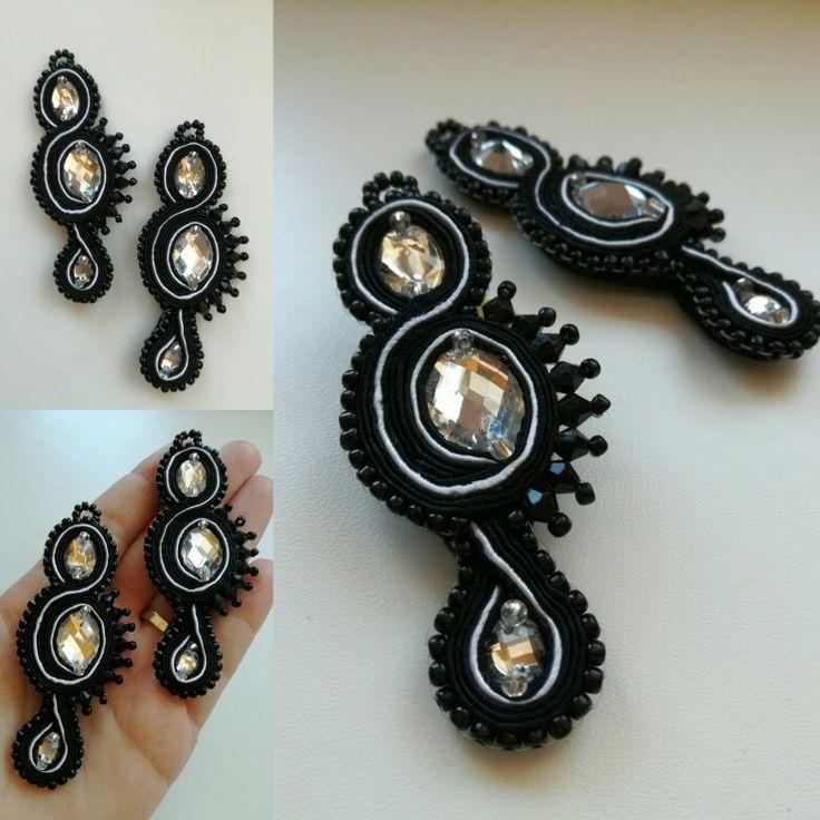 Black and white soutache earrings full of music