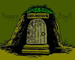 Punxsutawney Phil looking for his shadow animated clip art image