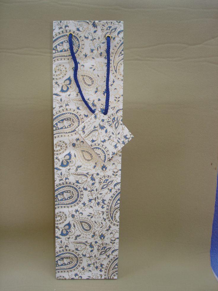 Cream-Royal Blue  # 12 Wine Bag   (11)